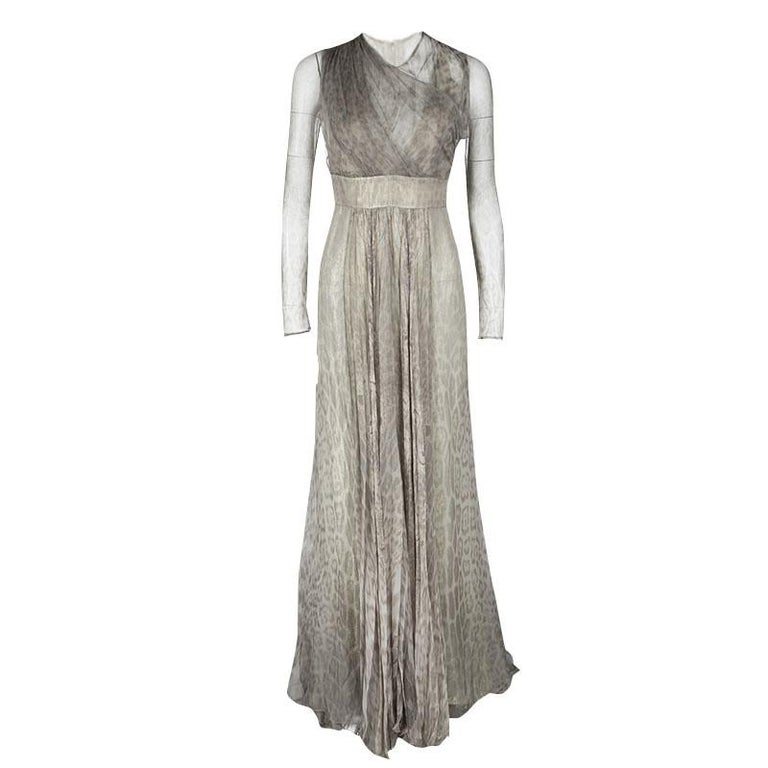 7c6e3d7263 Roberto Cavalli Grey Animal Printed Silk and Tulle Draped Long Sleeve Gown  M For Sale