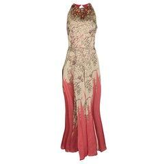 Matthew Williamson Floral Print Silk Embellished Neck Sleeveless Maxi Dress M