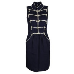 Chanel Navy Blue Textured Pearl Embellished Sleeveless Dress S