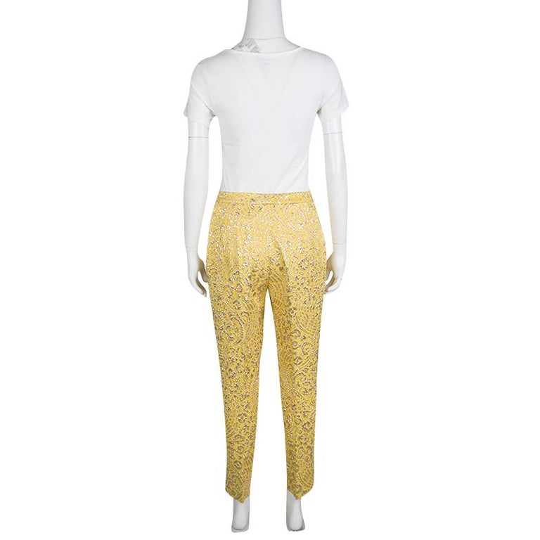 Beige Dolce and Gabbana Yellow Lurex Floral Jacquard Cropped Pants M For Sale