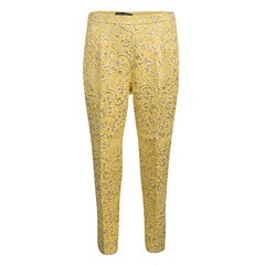 Dolce and Gabbana Yellow Lurex Floral Jacquard Cropped Pants M