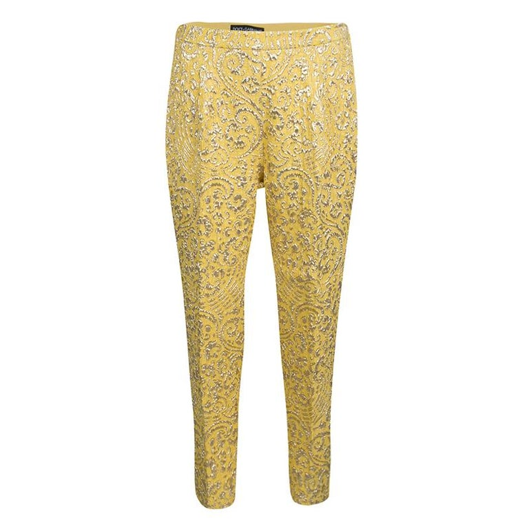 Dolce and Gabbana Yellow Lurex Floral Jacquard Cropped Pants M For Sale