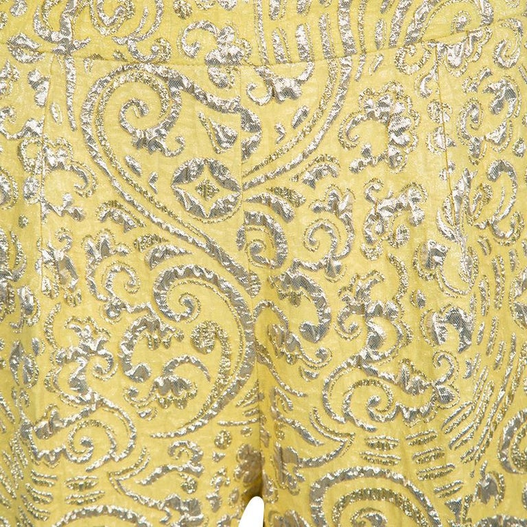 Women's Dolce and Gabbana Yellow Lurex Floral Jacquard Cropped Pants M For Sale