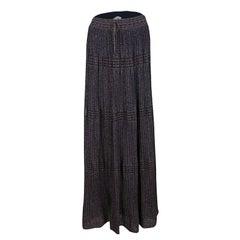 M Missoni Purple Lurex Perforated Knit Pleated Skirt M