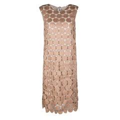Marni Sand Brown Circular Guipure Lace Sleeveless Shift Dress M
