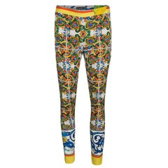 Dolce and Gabbana Multicolor Majolica Print Tapered Pants S