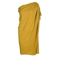 Lanvin Mustard Yellow One Shoulder Tie Detail Draped Dress M