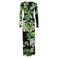 Roberto Cavalli Black Floral Printed Knit Long Sleeve Gathered Maxi Dress M