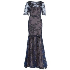 Notte By Marchesa Tiered Flower Appliqué Gown M