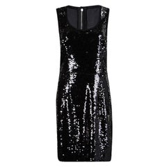 Dolce and Gabbana Black Sequin Embellished Sleeveless Dress L
