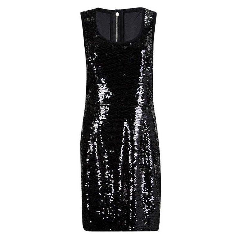 Dolce and Gabbana Black Sequin Embellished Sleeveless Dress L For Sale
