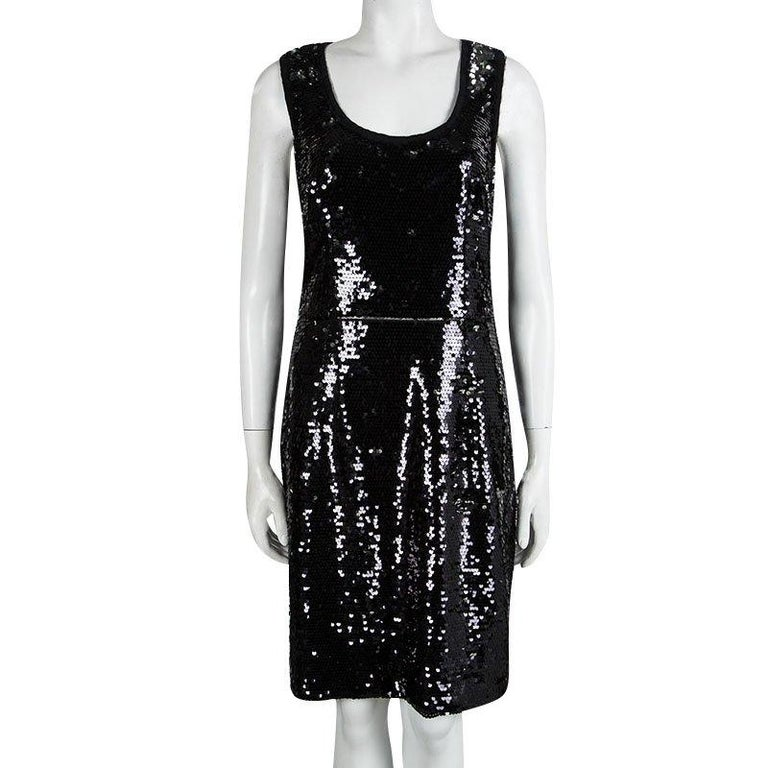 Dolce and Gabbana Black Sequin Embellished Sleeveless Dress L In Good Condition For Sale In Dubai, AE