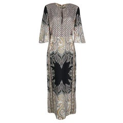 Etro Embellished Lace Bodice Detail Paisley Printed Silk Maxi Dress M