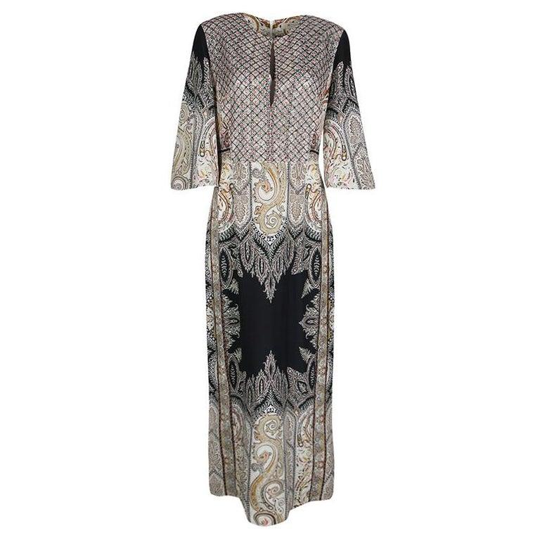 Etro Embellished Lace Bodice Detail Paisley Printed Silk Maxi Dress M