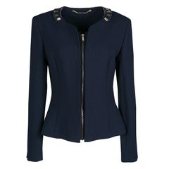 Matthew Williamson Navy Blue Embellished Neck Detail Zip Front Jacket M