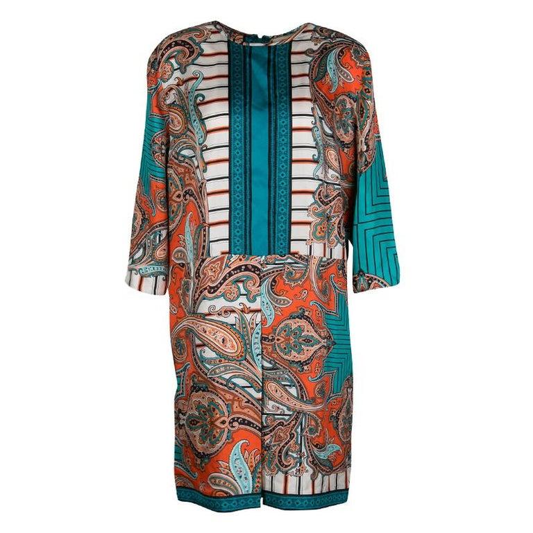 Etro Multicolor Printed Silk Long Sleeve Dress M