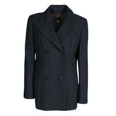 D&G Black Floral Jacquard Double Breasted Blazer M