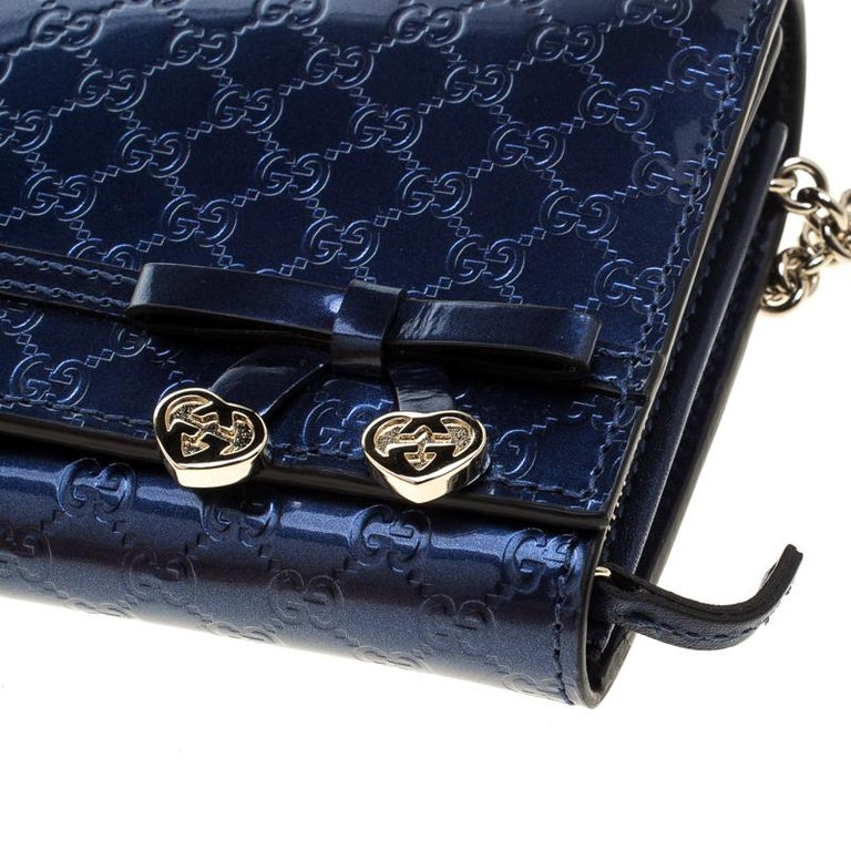232765ea7aa Women s Gucci Blue Microguccissima Patent Leather WOC Wallet For Sale