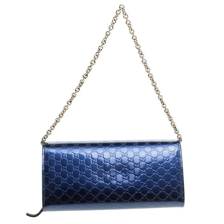 5b387584302 Gucci Blue Microguccissima Patent Leather WOC Wallet For Sale. Gucci the  mega fashion house brings you yet another gorgeous accessory with this  wallet. It