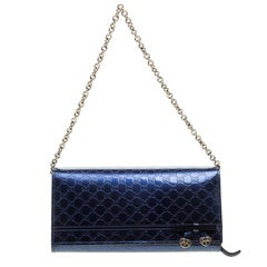 Gucci Blue Microguccissima Patent Leather WOC Wallet