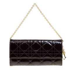 Dior Burgundy Cannage Patent Leather Wallet on Chain