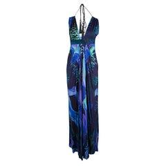 Matthew Williamson Escape Multicolor Bird Print Tassel Detail Maxi Dress M