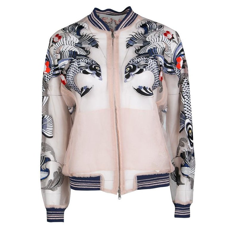 3.1 Phillip Lim Beige Natural Tattoo Embroidered Organza Bomber Jacket S