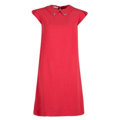 Miu Miu Red Embellished Collar Cap Sleeve Dress S
