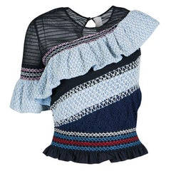 Peter Pilotto Blue Smocked Asymmetric Ruffle Detail Octave Top S