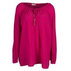Saint Laurent Paris Pink Silk Tassel Tie Detail Long Sleeve Blouse M