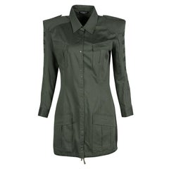 Balmain Olive Green Cotton Emroidered Military Shirt Tunic M