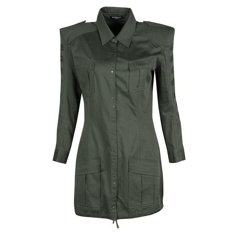Balmain Olive Green Cotton Emroidered Military Shirt Tunic M