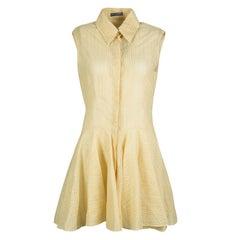 Alexander McQueen Yellow Floral Lace Sleeveless Shirt Dress M