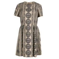 Valentino Beige Medallion Printed Cotton Pleated Bambolina Dress M