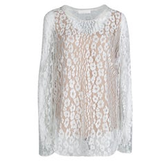 Chloe White Contrast Lined Long Sleeve Floral Lace Top L
