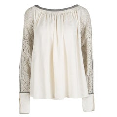 Chloe Cream Contrast Trim Guipure Lace Detail Long Sleeve Blouse M