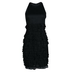 Burberry London Black Cotton Tiered Ruffle Bottom Sleeveless Dress S
