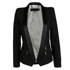 Barbara Bui Black Satin Trim Detail Tailored Blazer S
