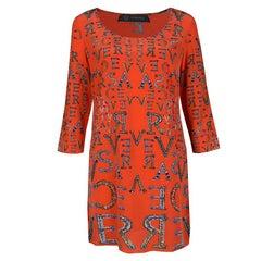 Versace Orange Logo Alphabet Printed Silk Long Sleeve Shift Dress M