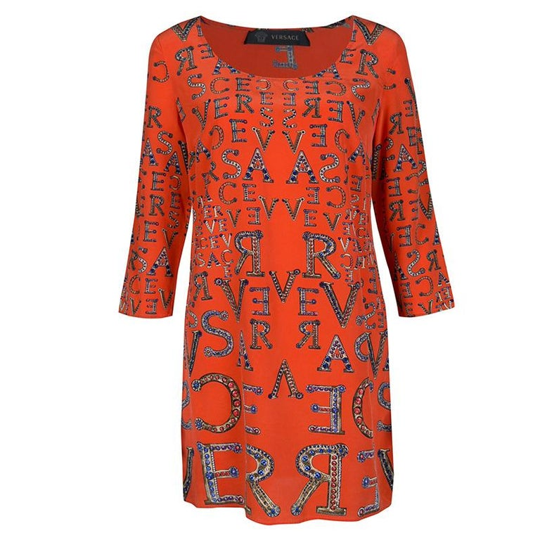 Versace Orange Logo Alphabet Printed Silk Long Sleeve Shift Dress M