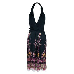 Roberto Cavalli Black Floral Printed Halter Dress S