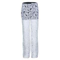 Peter Pilotto White Tabitha Cutout Ikebena Flower Embroidered Silk Organza Pants