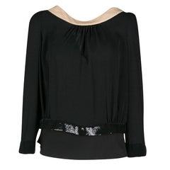 Dior Black Silk Contrast Neck Embellished Trim Open Back Blouse M