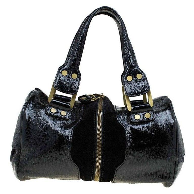Jimmy Choo Black Glazed Leather and Suede Marla Satchel
