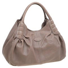 Tod's Beige Leather Ivy Sacca Media Tote