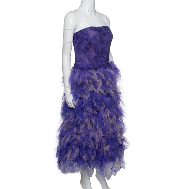 Tadashi Shoji lila und Beige Tüll gesticktes Kunst Feder trägerloses Kleid  L 3 4592938fcf