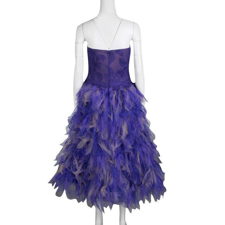 Tadashi Shoji lila und Beige Tüll gesticktes Kunst Feder trägerloses Kleid  L 2 d216fdad94