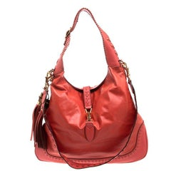 Gucci Red Orange Leather Large New Jackie Shoulder Bag