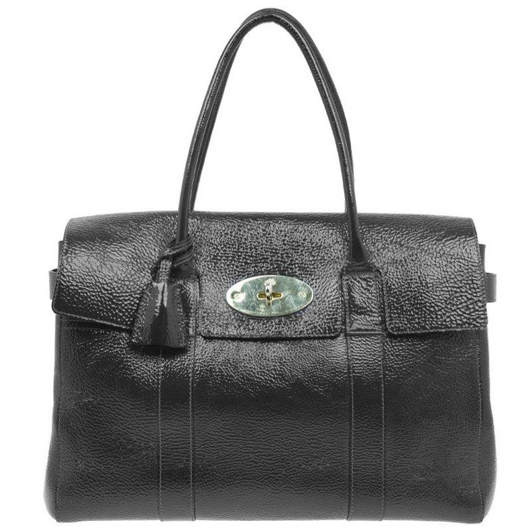 b482d2cf3550 Mulberry Dark Grey Patent Leather Bayswater Satchel Bag at 1stdibs
