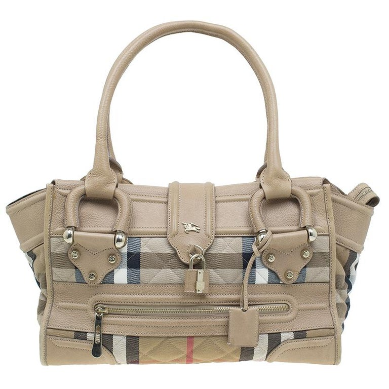 6faf825bf3e8 Burberry Cream Quilted House Check Manor Satchel Bag at 1stdibs